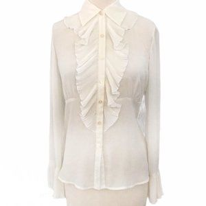 CAbi Off White Pleated Ruffle Button Front Blouse